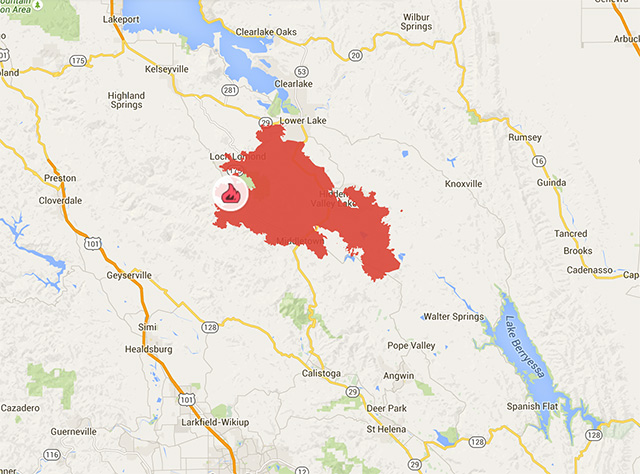 Kron 4 Fire Map.More About The Only Fatality In The Valley Fire As It Grows To