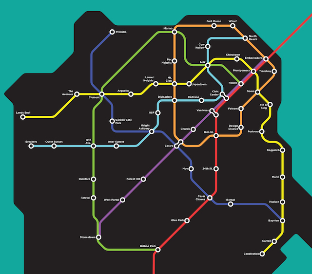 Sf Subway Map Dream.Close Your Eyes And Imagine If This Fantasy Muni Map Were Real Sfist