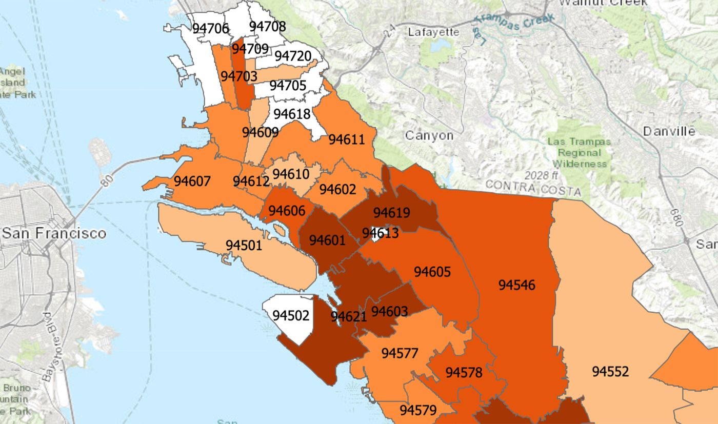 East Oakland Quickly Becoming Hardest Hit Covid 19 Hot Spot In The Bay Area Postal or zip code bay area. east oakland quickly becoming hardest