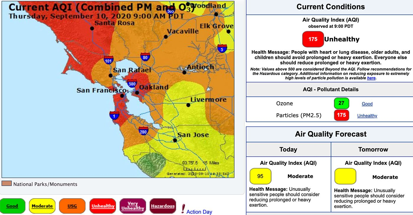 Smoky Skies To Last At Least Through Friday As Air Quality Worsens In Bay Area For more information see the epa's air quality website. air quality worsens in bay area