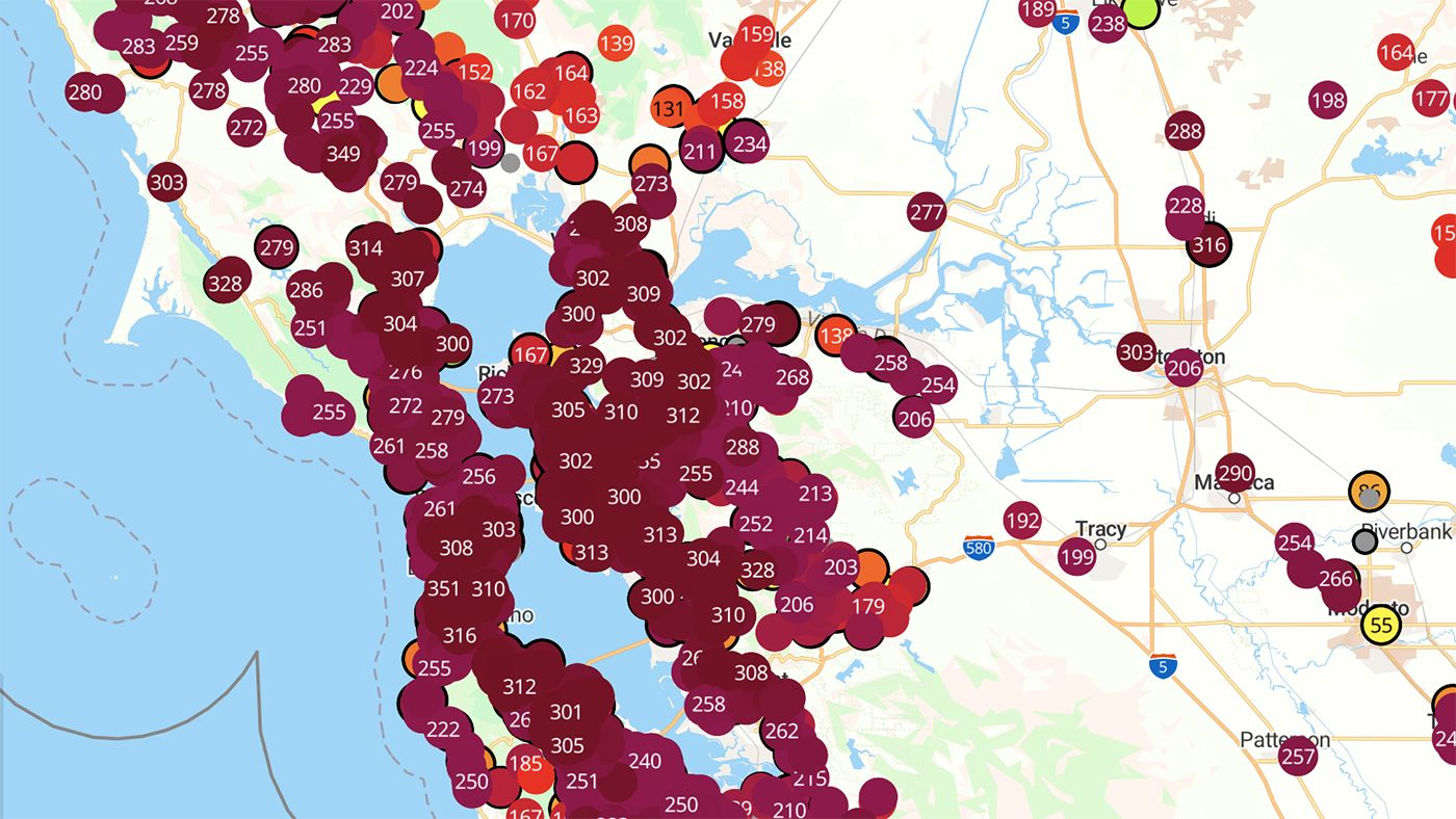 Smoke To Sit Over Entire Bay Area All Day Friday As Air Quality Readings Hit 300+