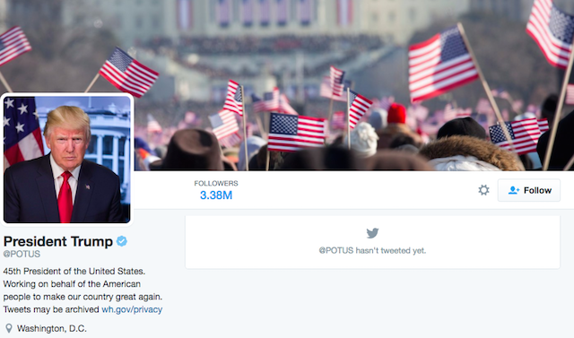 Power Of @POTUS Twitter Account Peacefully Transferred To Trump
